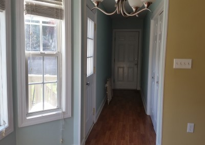 hall with laundry area